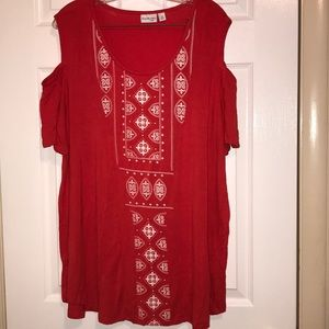 Kim Rogers cold shoulder red / white top
